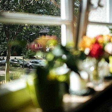 Ausblick aus einem Fenster in der Rosenhofsiedlung in Bickendorf