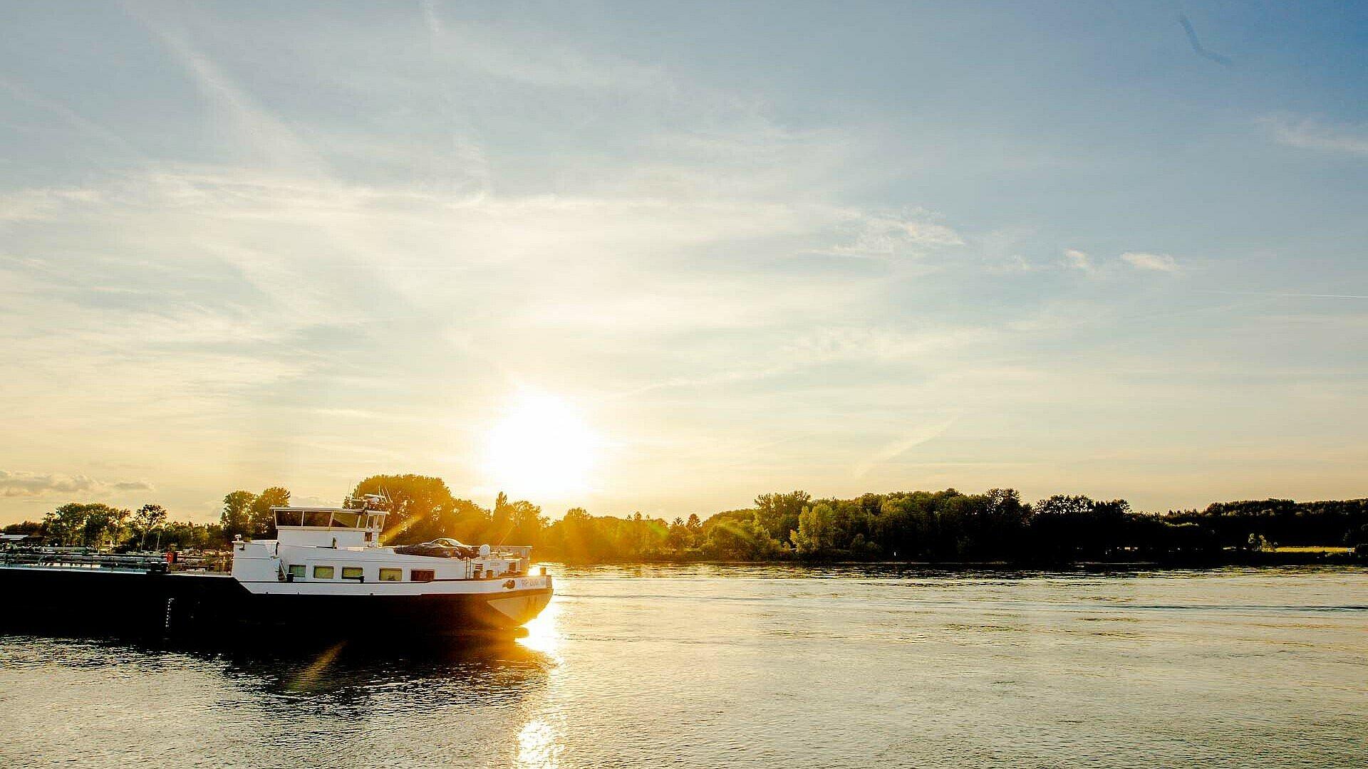 Der Sonnenuntergang am Porzer Rheinufer ist besonders schön
