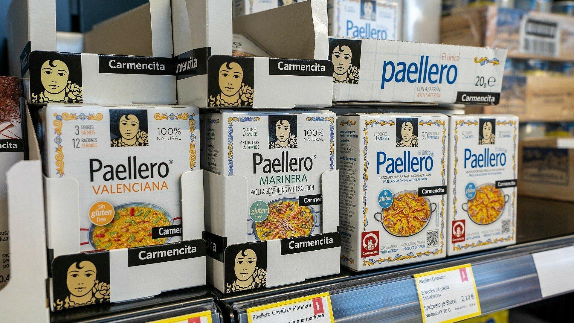 Paella Gewürze im spanischen Supermarkt Solera in Bickendorf