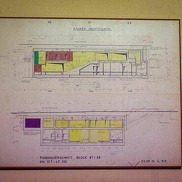 Lageplan an der Wand des Kalker Atombunkers