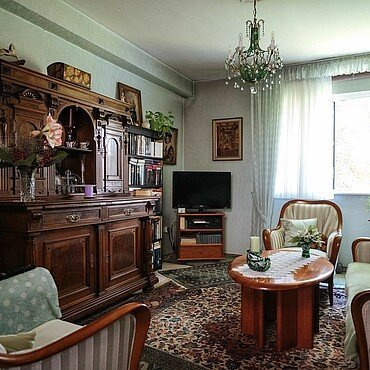 Wohnzimmer der GAG-Mieterin in der Rosenhofsiedlung in Bickendorf