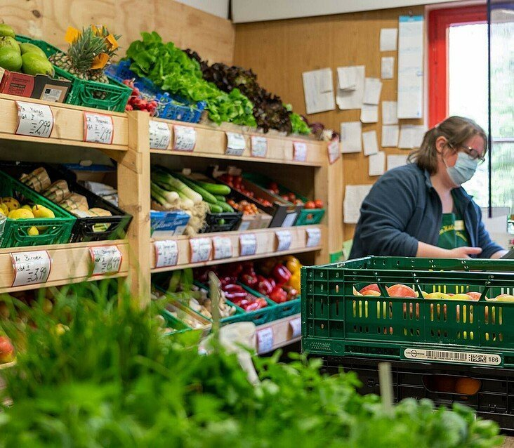 Verkaufstheke des Kölner Biobauern in Humboldt/Gremberg