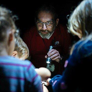 Zoobegleiter zeigt Kindern Insekten bei der Taschenlampenführung im Kölner Zoo