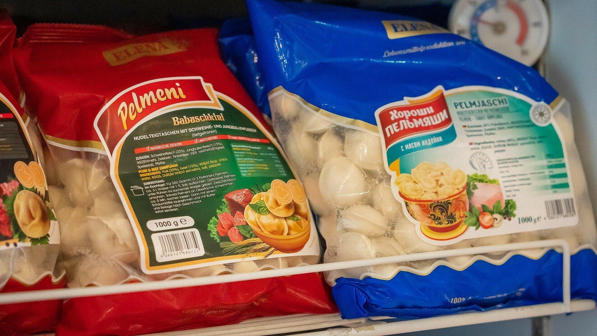Tiefgefrorene Pelmeni im russischen Supermarkt Zabawa in Buchheim