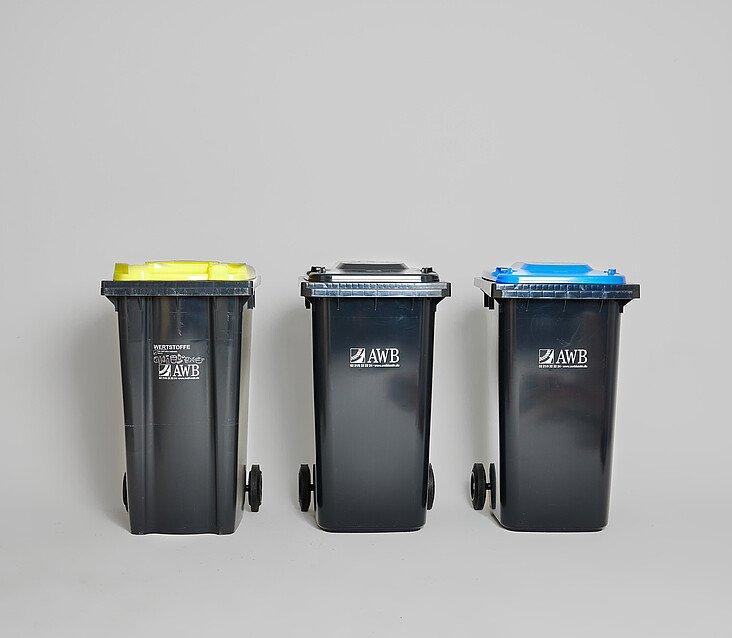 Kommt der Müll in die Gelbe, Graue oder Blaue Tonne?