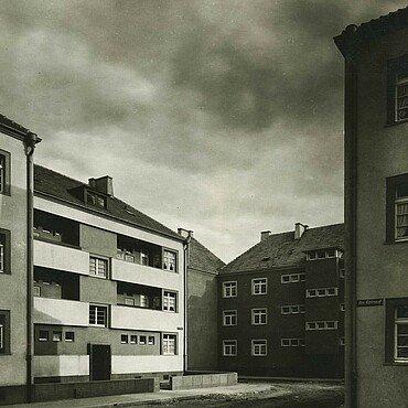 Historisches Bild der Häuser in der Rosenhofsiedlung in Bickendorf